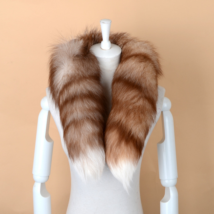 898456 Europe and United States New Fashion Men's and women's fur Tail scarf warm thickened Fur Collar Winter Warm Fox Fur Scarf