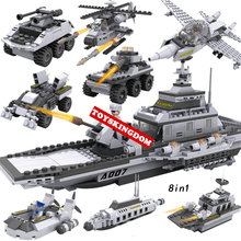 Hot modern military 8in1 Warship building block army figures helicopter fighter Armored car submarine speed boat bricks toys