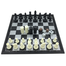 3 in 1 Chess Sets With Folding Chessboard And Magnetic Chess Pieces Plastic Chess & Checkers Backgammon tactics-0036 25cm*25cm(China)