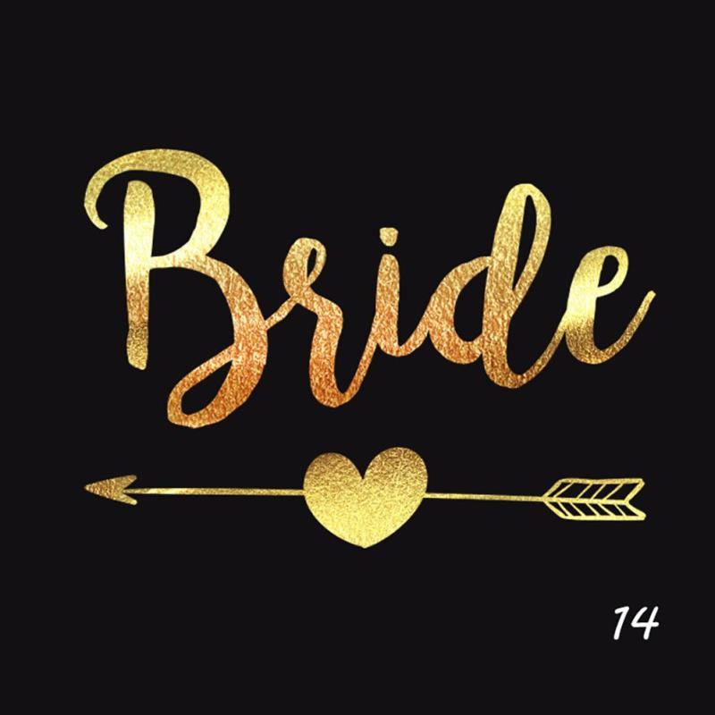 5Pcs/lot Flash Bride Tribe Temporary Tattoo Sticker Bachelor Party Bridesmaid Wedding Party Body Art Glitter Tattoo Decals Y2 4