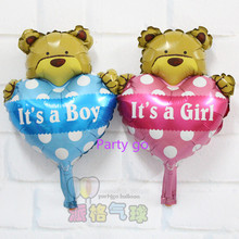 Mini 100pcs/lot Print it a boy&girl Foil balloon Heart bear Helium ballon Wedding Valentine's days Celebrate decor globos supply(China)