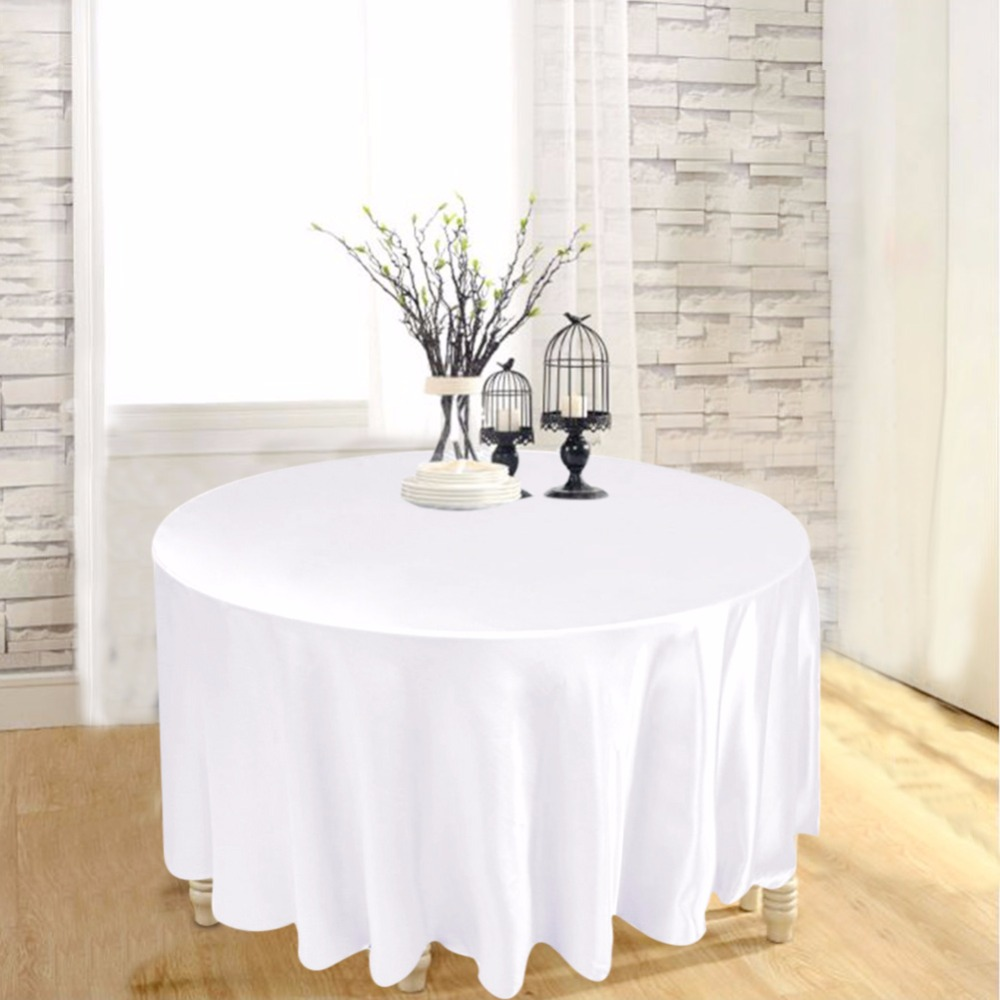 White round tablecloths cheap - 10pcs 120 Satin Table Cover White Black Round Tablecloth For Banquet Wedding Party Decoration