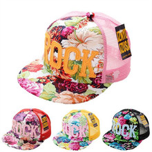 2017 Flowers Print Summer Rock Children's Baseball Caps Baby Boys Girls Summer Sun Mesh Caps Snapback Hat(China)