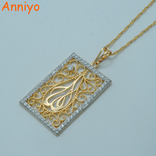 Anniyo Zirconia Allah Necklaces for Women,Two Tone islam Jewelry Light Gold Color CZ Muslims Pendant Middle Eastern #013404