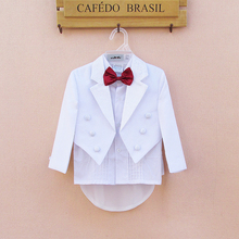 White Baby Boys Party Wedding Suits 5 Pieces Formal Tuxedo Suit Newborn Baby Boy Baptism Christening Party Wedding Clothing Set(China)