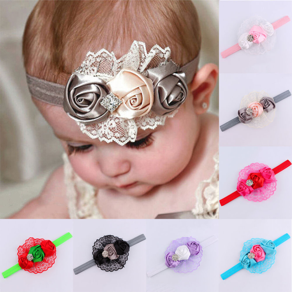 Fashion Design Baby Girls Headbands Rhinestone Flower Hair Accessories   Girls Infant Hair Band clothes free shipping