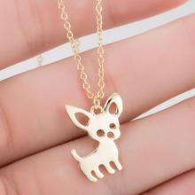 Jisensp Statement Metal Alloy Chihuahuas Dog Chokers Necklace Chain Collar Pendant Necklace New Fashion Jewelry For Women N253(China)