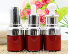 20ML 20G Glass Essential Oil Bottle, Red Color With Silver Cap Plastic Dropper Packing Vials, Glass Purfume Bottle, 18pcs/lot