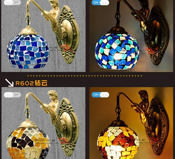 European Mermaid Wall Lamps Mediterranean Retro Bedside Lamps Mirror Front Aisle Stairs Balcony wall lights Lamps<br><br>Aliexpress