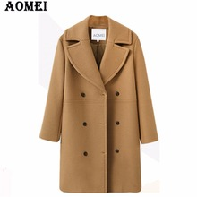 Women Winter Wool Coat Long Sleeve Casual Woolen Winter Cape Tops Double Breasted Outerwear Clothing Workwear for Office Ladies(China)