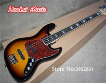 Hot Sale Custom 4-String Bass Guitar with Tobacco Sunburst Color,String-thru-body Design,Red Pickguard,can be Customized