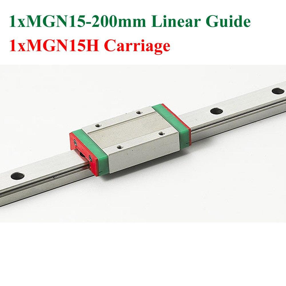 New Mini Linear Guideway MGN15 15mm Linear Rail Length 200mm Slide Steel With MGN15H Blocks CNC<br>