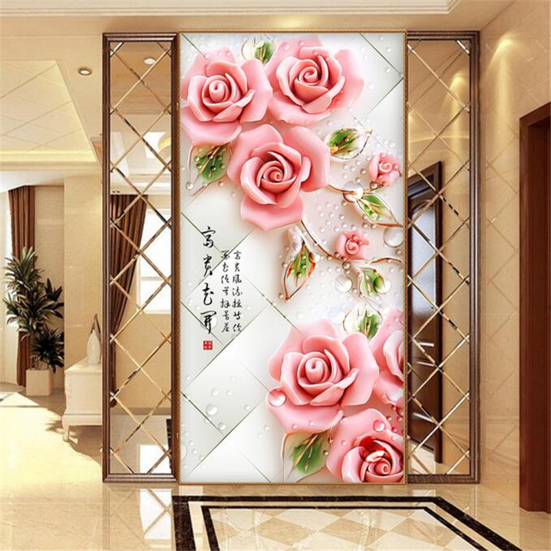 papel de parede 3D embossed flowers rich decorative painting wallpaper home decoration living room bedroom 3d wallpaper photo<br><br>Aliexpress