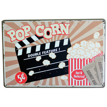 POP CORN DOUBLE FEATURE Metal Tin Sign Vintage Style movie plague for film cinema coffee shop wall decor LJ7-12 20x30cm B1(China)