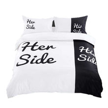 Her Side/His Side 3/4pcs bedding sets Couple double bed Black&white Bed Linen Couples Duvet Cover Set Queen/King Size gift(China)
