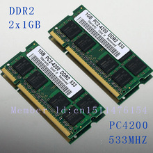 NEW 2GB 2x1GB PC2-4200 DDR2-533 533Mhz 200pin DIMM Laptop Memory pc4200 533MHZ DDR2 Low Density RAM Free shipping(China)