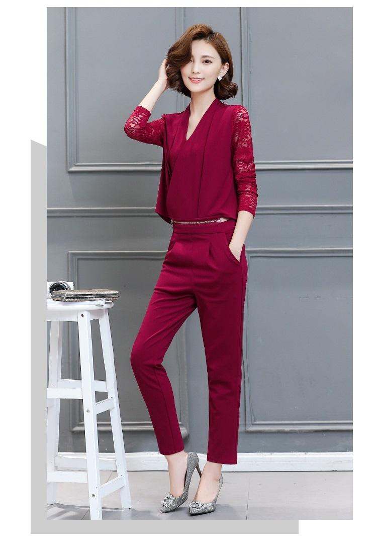 Women Leisure Set Autumn Dress New lady Slim Two Pieces Suits Blouse+Pants Fashion Long Sleeve V Collar Ladies Suits A112 YAGENZ 8