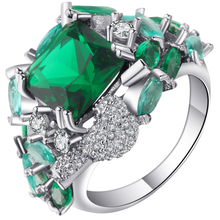 Unusual Green Cubic Zirconia CZ Finger Rings Jewelry Silver Color Amazing Wedding And Engagement Rings For Women Unique Ringen