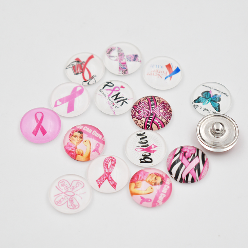 Mixed-50Pcs-Lot-Pink-Ribbon-Glass-Snap-Buon-Jewelry-Fit-18MM-Buons-Sanp-For-Snaps-Bracelet