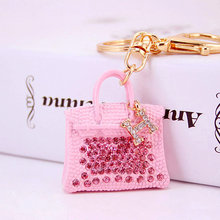 Fashion Design Jewelry Rhinestone Handbag Keychains Keyrings for Women Car Key Ring Holder Wedding Party Gifts