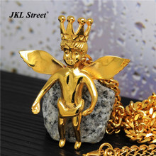 Hot Sale Mens Gold Micro Crown Baby Angel Pendant Charm Hip Hop Stainless Steel Wing Angel Necklace w/70cm Cuban Chain Necklace(China)