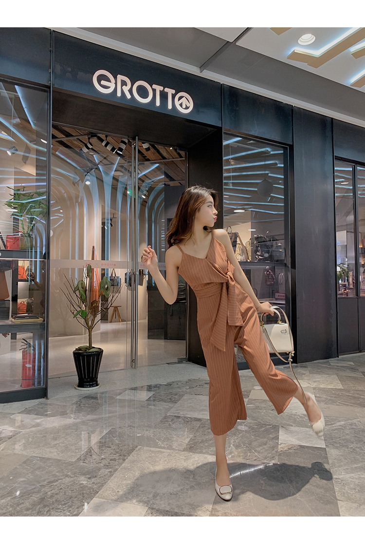 Sling Off Shoulder Sleeveless Striped Jumpsuit 2019 New Fashion V-Neck High Waist Nine Points Wide Leg Jumpsuit Summer 15 Online shopping Bangladesh