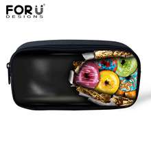 FORUDESIGNS Professional Organizer Women Make Up Bag 3D Chocolate Prints Pencil Case Bags Pen Pouch for School Boys Girls Bags(China)