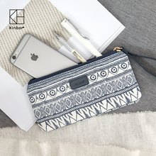1 Piece Cute Korean Stationery Large Capacity Canvas Pencil Bag Fabric Fashion Makeup Pouch Pen Bag Office Stationery(China)
