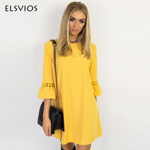 ELSVIOS Women Summer Dress Spring Flare Three Quarter Sleeve Lace Patchwork Dress Casual O Neck Ladies A-Line Dresses Vestidos(China)