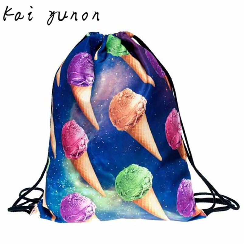 kai yuno 1 PC Fashion colorful Icecream Backpacks 3D Printing Bags Drawstring Backpack Sep 8<br><br>Aliexpress