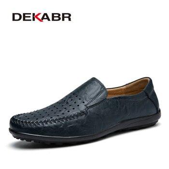 2017 D'été Hommes Casual Chaussures Haute Qualtiy Split En Cuir Chaussures Hommes de mode de Conduite Appartements Respirant Glissement Sur Paresseux Chaussures Taille 38-45