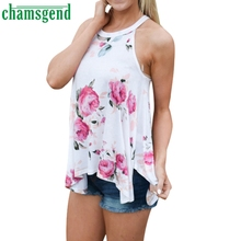 CHAMSGEND Good Deal  plus size S-XL 2017 New Arrivals Women  Sleeveless Flower Printed  Casual T Shirt 1PC