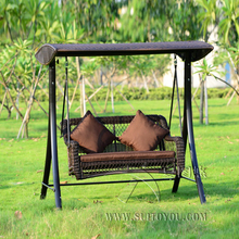 2 person wicker patio garden swing chair haning hammock rattan outdoor cover seat bench with cushion(China)