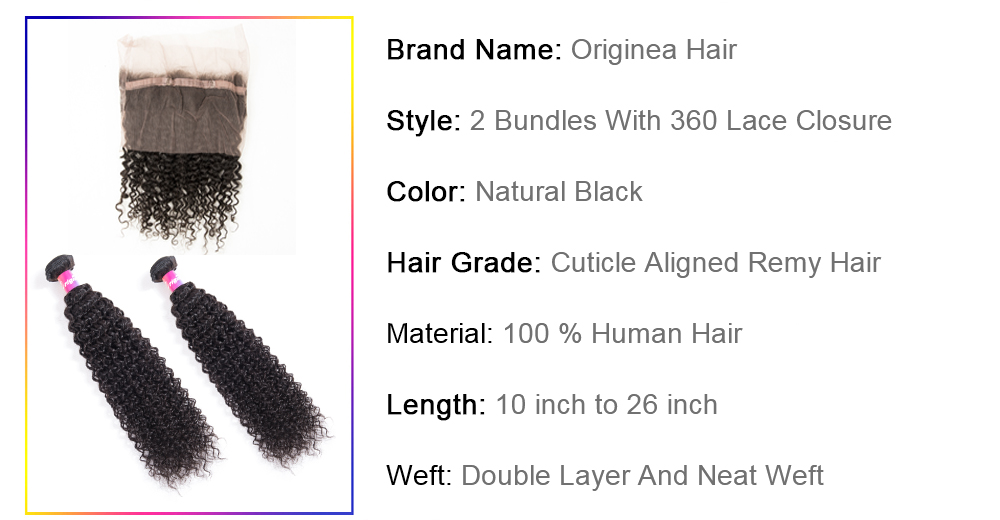 Originea Malaysian Afro Kinky Curly Remy Human Hair 2 Bundles With 360 Lace Frontal Closure Salon Bundles With Closure Best long short naturally wave black curly hair products
