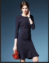 brandy melville vestido vintage fashion brand BLUE and red checks print three quarter sleeve round neck puffy belt retro dress