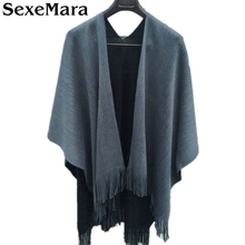 New 2016 Autumn Winter Women Scarf Female Oversized Knitted Pashmina Wool Blanket Shawls and Scarves Duplex Poncho Capes AW13(China)
