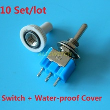 10sets/lot 3-Pin MTS-103 With Waterproof Cover SPDT ON-OFF-ON Mini Toggle Switch 6A 125VAC Mini Rocker Switches 3 Position