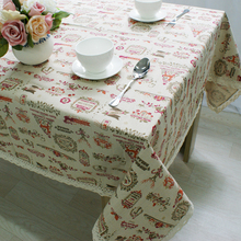 European Classical Style Christmas Deer Pattern Tablecloth Cotton & Linen Coffee Cabinet & Oven Dustproof Cover Table Fabric