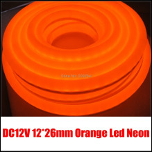 Orange color led neon flex, DC12V, size 12*26mm, brand new led neon lights for diy home lighting solution, 80leds/meter(China)
