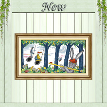 Play a musical instrument rabbit diy painting counted print on canvas DMC 14CT 11CT Cross Stitch Needlework Sets Embroidery kits(China)