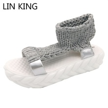 LIN KING Women Sandals Solid Gladiator Slides Wool Knitting Back Strap Pierced Peep Toe Slip On Shoes Comfortable Ladies Shoes(China)