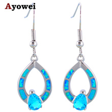 Ayowei Amazing Blue Fire Opal Silver Stamped Lowest Price High Quality for Women Anniversary Gift OES651A(China)