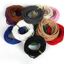 3mm 5meter/lot Round Braided PU Leather Cord String Thread Line For Craft Jewelry Making Findings DIY Bracelets Necklace
