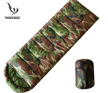 Free shipping Army green camouflage sleeping bag Envelope Hooded Sleeping Bag Outdoor Travel Camping Waterproof keep warm(China)