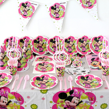 82pcs Kids Favors Minnie Mouse Masks Baby Shower Tablecloth Birthday Party Napkins Decoration Flags Paper Plates Cups Supplies