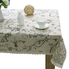 World Map High Quality Lace Table Cloth Linen Cotton Table Cloth Decorative Elegant Table Cloth Linen Table Cover