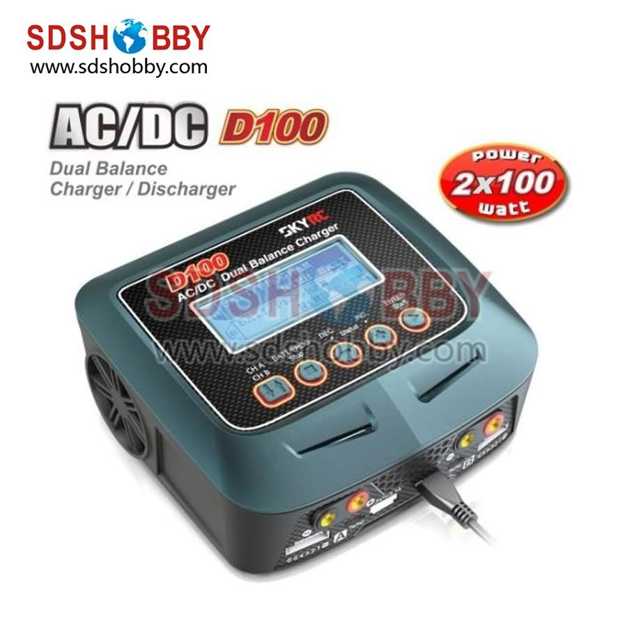 SkyRC D100 2*100W AC/DC Dual Balance Charger  10A Charge 5A Discharge NiMH/LiPo Battery Charger Twin-Channel Charger<br><br>Aliexpress
