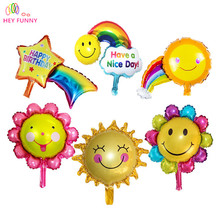 HEY FUNNY 3 pcs/set cute mini sunflower balloons meteor rainbow foil balloon for children birthday party decor free shipping