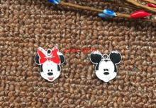 50pcs Cartoon Mickey Minnie head Metal Charm Key chain necklace Pendants DIY Jewelry Making Mobile Phone Accessories