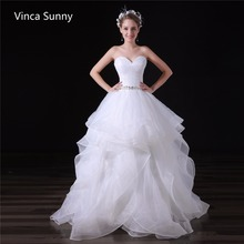 Buy New Elegant Princess Wedding Dresses 2018 Sweetheart Ball Gown Lace Back Beads Organza Long Bridal Gowns Vestido de noiva for $128.44 in AliExpress store
